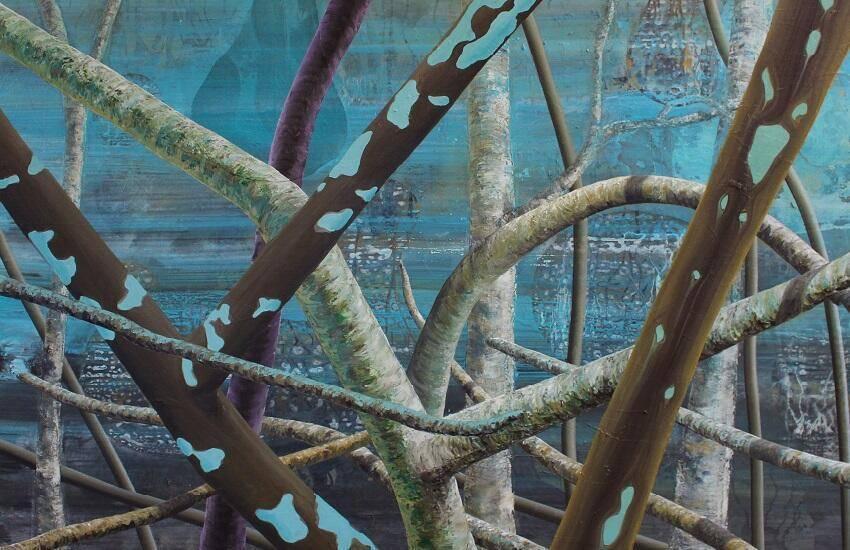 Anutosh - Do as thou willt - 2016 - 140 x 200 cm, acryl, olieverf en pasta met zand op linnen